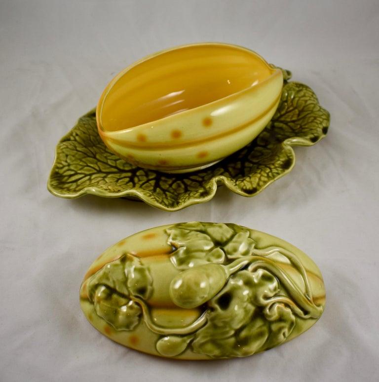 Sarreguemines French Barbotine Majolica Trompe l'Oeil Melon Covered Tureen For Sale 4