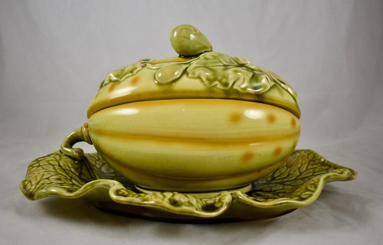 Aesthetic Movement Sarreguemines French Barbotine Majolica Trompe l'Oeil Melon Covered Tureen For Sale