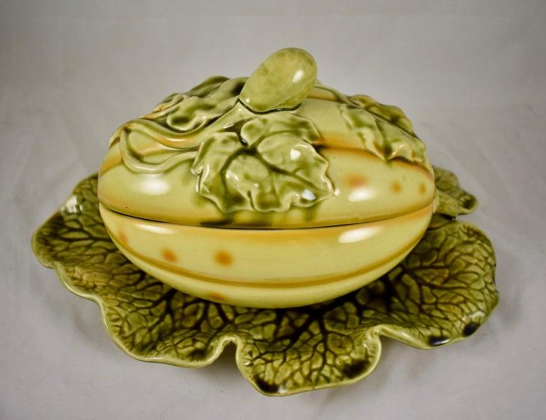 Glazed Sarreguemines French Barbotine Majolica Trompe l'Oeil Melon Covered Tureen For Sale