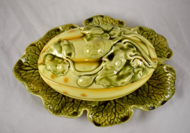 20th Century Sarreguemines French Barbotine Majolica Trompe l'Oeil Melon Covered Tureen For Sale