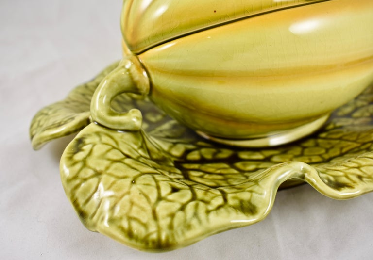 Sarreguemines French Barbotine Majolica Trompe l'Oeil Melon Covered Tureen For Sale 1