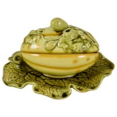 Sarreguemines French Barbotine Majolica Trompe l'Oeil Melon Covered Tureen