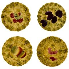 Sarreguemines French Faïence Majolica Fruit and Leaf Plates, Set of Four