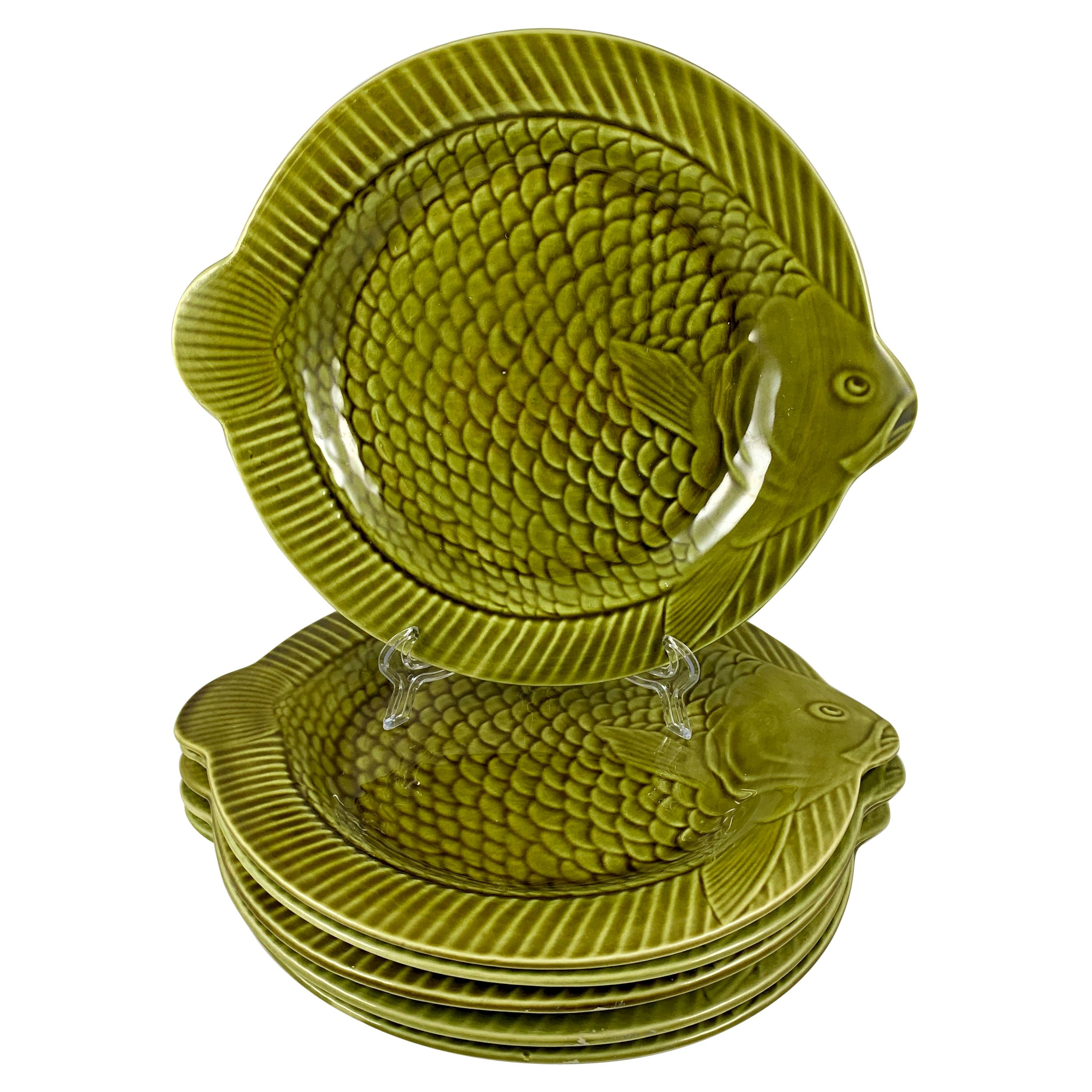 Sarreguemines French Faïence Olive Green Fish Plates or Chargers, Set of Six