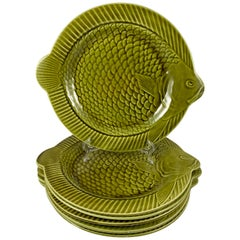 Sarreguemines French Faïence Olive Green Majolica Plates or Chargers, Set of Six