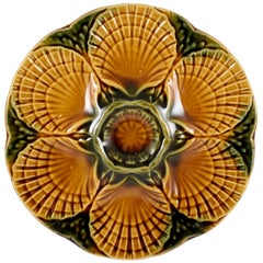 Sarreguemines French Majolica Barbotine Earth Tone Scallop Well Oyster Plate