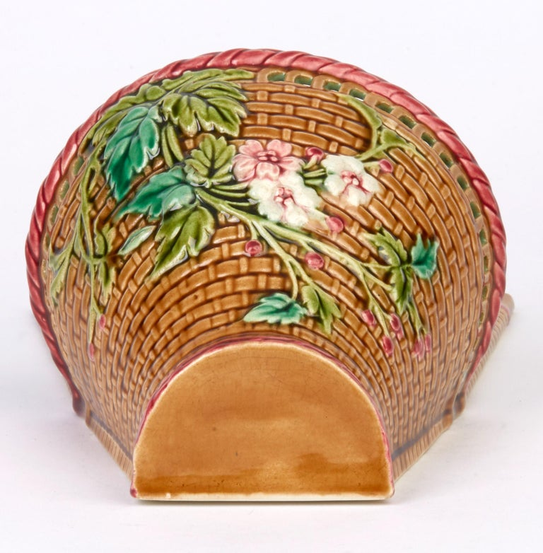Late 19th Century Sarreguemines French Majolica Pottery Wall Pocket, circa 1885 For Sale