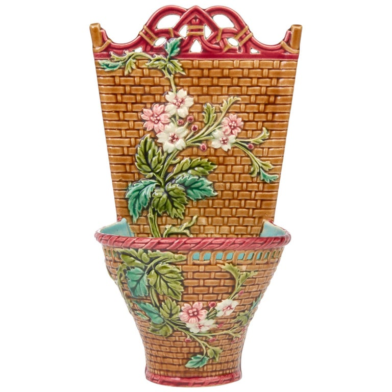 Sarreguemines French Majolica Pottery Wall Pocket, circa 1885 For Sale