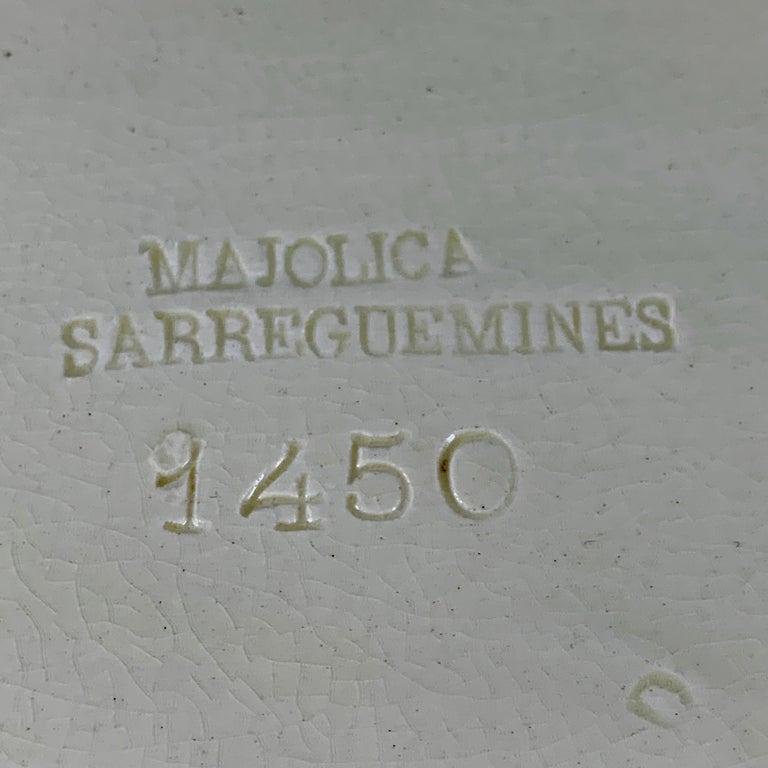 Sarreguemines French Majolica Trompe L'Oeil Greek Key Border Napkin Bread Tray For Sale 3
