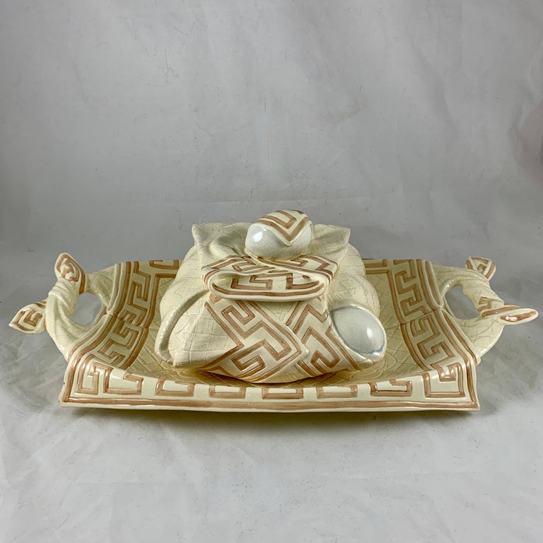 Sarreguemines French Majolica Trompe L'Oeil Greek Key Border Napkin Bread Tray For Sale 5