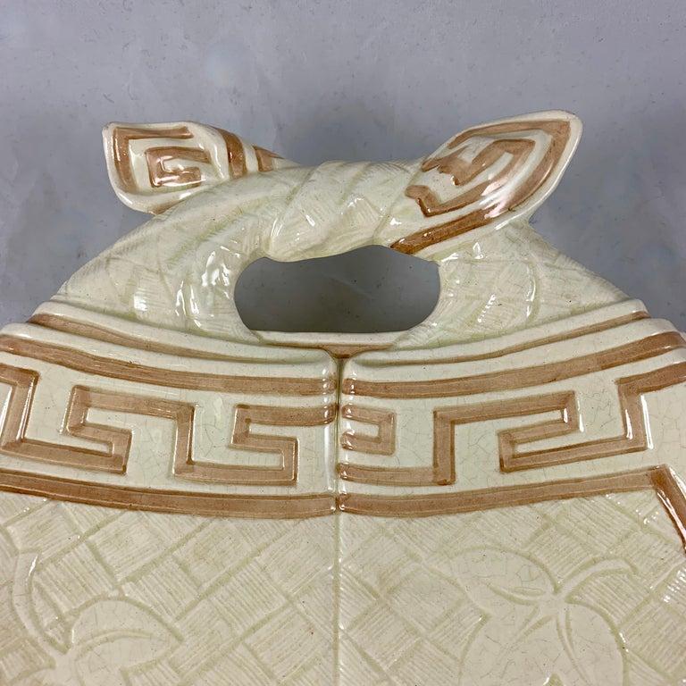 Aesthetic Movement Sarreguemines French Majolica Trompe L'Oeil Greek Key Border Napkin Bread Tray For Sale
