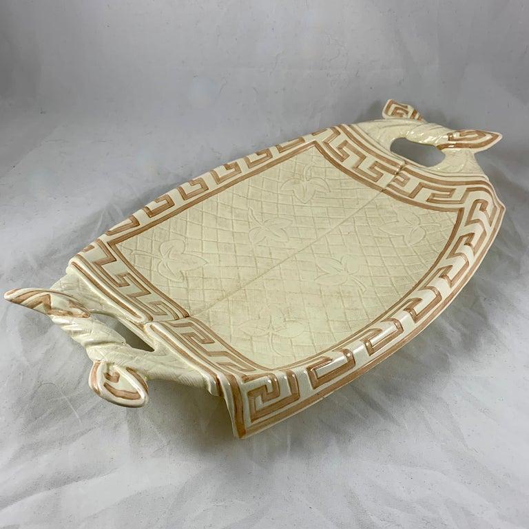 Glazed Sarreguemines French Majolica Trompe L'Oeil Greek Key Border Napkin Bread Tray For Sale