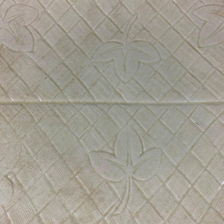 19th Century Sarreguemines French Majolica Trompe L'Oeil Greek Key Border Napkin Bread Tray For Sale