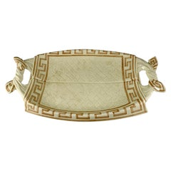 Sarreguemines French Majolica Trompe L'Oeil Greek Key Border Napkin Bread Tray