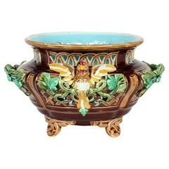 Sarreguemines French Majolica Twin Handle Bird Mounted Pottery Bowl