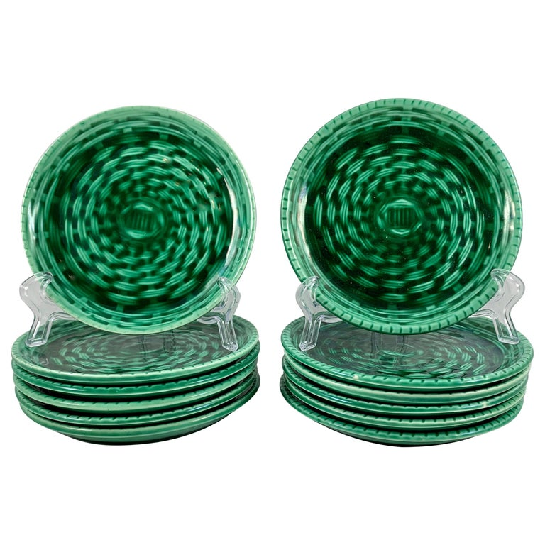 Sarreguemines Green Basket Weave Canapé Or Hors D œuvre Plates A Set Of Six For Sale At 1stdibs