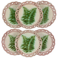 Sarreguemines Green Fern Pink Reticulated Rim French Faïence Majolica Plates S/6