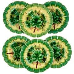 Sarreguemines Green Grape Leaf Paneled Rim French Faïence Majolica Plates, S/6