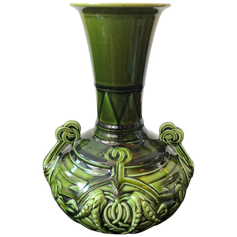 Sarreguemines Art Nouveau French Green and Light Blue Majolica Vase, circa 1930 For Sale