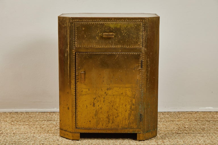 Unusual Sarreid Spanish small chest or side table with 1 drawer and 1 storage space with door. Finish left unpolished.
