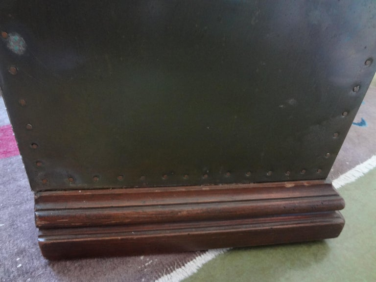Sarreid Brass-Clad Pedestal Cabinet with Nailhead Detail For Sale 5