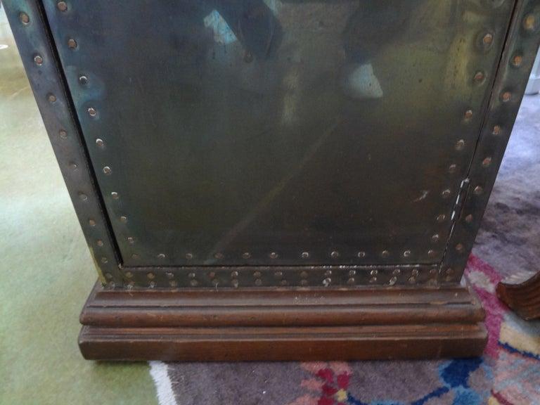 Sarreid Brass-Clad Pedestal Cabinet with Nailhead Detail For Sale 6