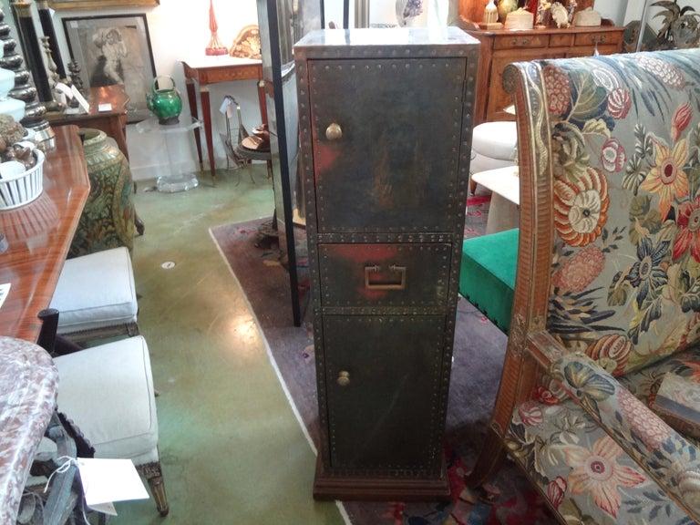 Sarreid Brass-Clad Pedestal Cabinet with Nailhead Detail For Sale 7