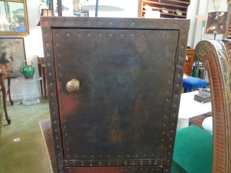 Hollywood Regency Sarreid Brass-Clad Pedestal Cabinet with Nailhead Detail For Sale
