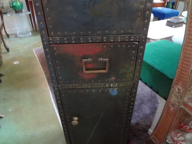 Sarreid Brass-Clad Pedestal Cabinet with Nailhead Detail In Good Condition For Sale In Houston, TX