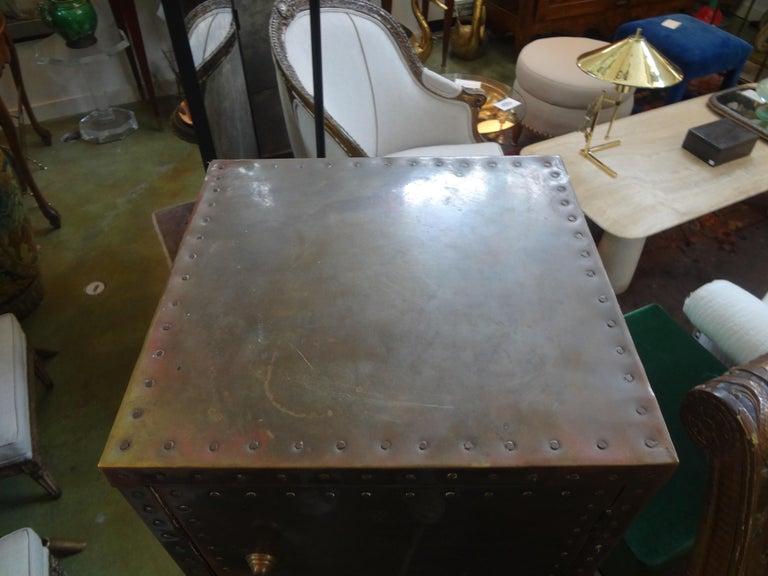 Sarreid Brass-Clad Pedestal Cabinet with Nailhead Detail For Sale 1