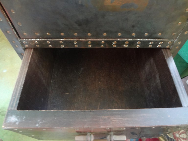 Sarreid Brass-Clad Pedestal Cabinet with Nailhead Detail For Sale 3