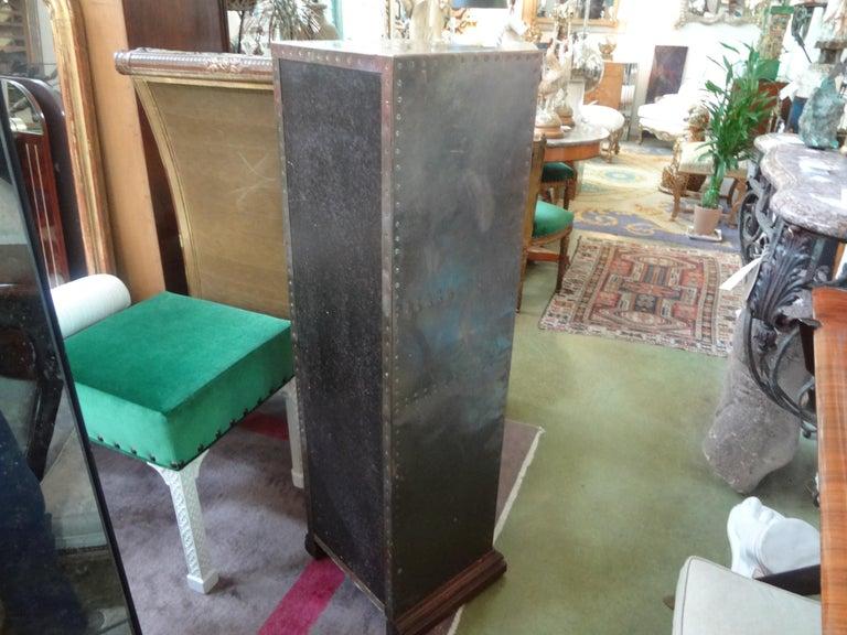 Sarreid Brass-Clad Pedestal Cabinet with Nailhead Detail For Sale 4
