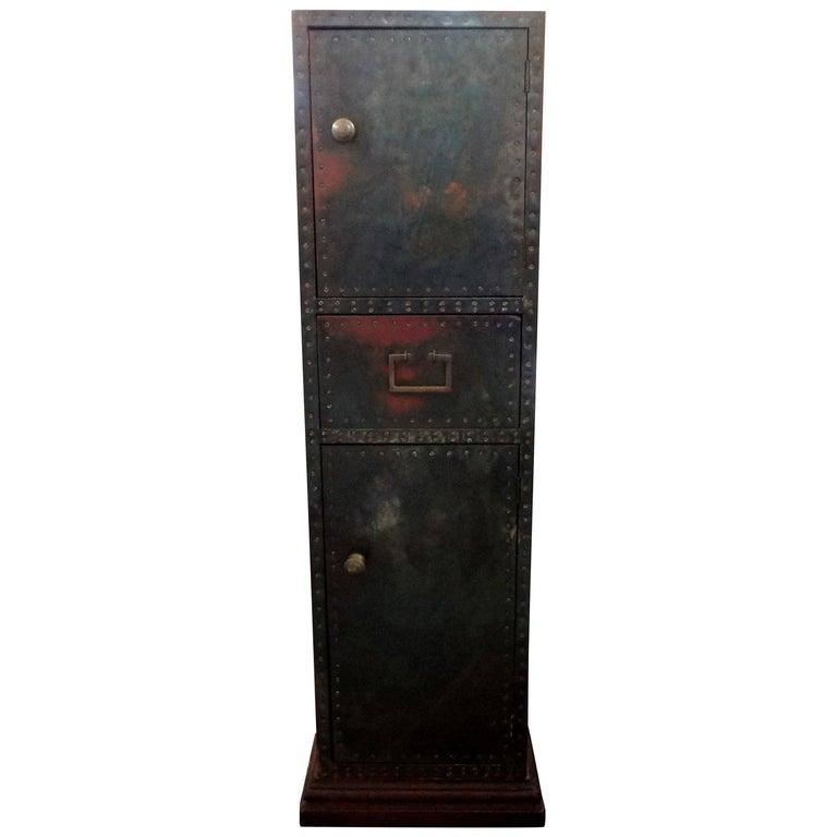 Sarreid Brass-Clad Pedestal Cabinet with Nailhead Detail For Sale