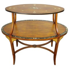 Sarreid Edwardian Oval Tray Top Étagère Table Sheraton Revival Floral Painted 35