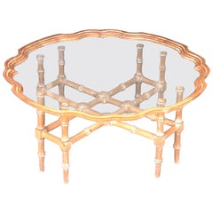 Sarreid Hand Carved Wood and Glass Tray Coffee Cocktail Table