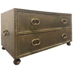 Sarreid Ltd. Brass Clad Two-Drawer Chest