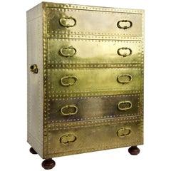 Sarreid Ltd Riveted Brass Chest of 5 Drawers
