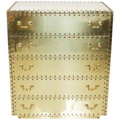 Sarreid of Spain 1970s Brass Studded Highboy Chest Dresser Vintage Hollywood