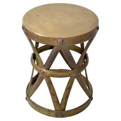 Sarreid Spanish Colonial Handmade Brass Drum Table, Stool Mid-Century Modern