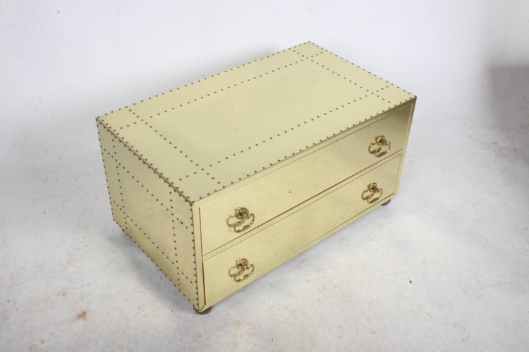 Sarreid Style Brass Clad and Studded Chest In Good Condition For Sale In St. Louis, MO