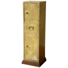 Sarreid Tall and Slender Brass Clad Cabinet with Decorative Nail Head Pattern