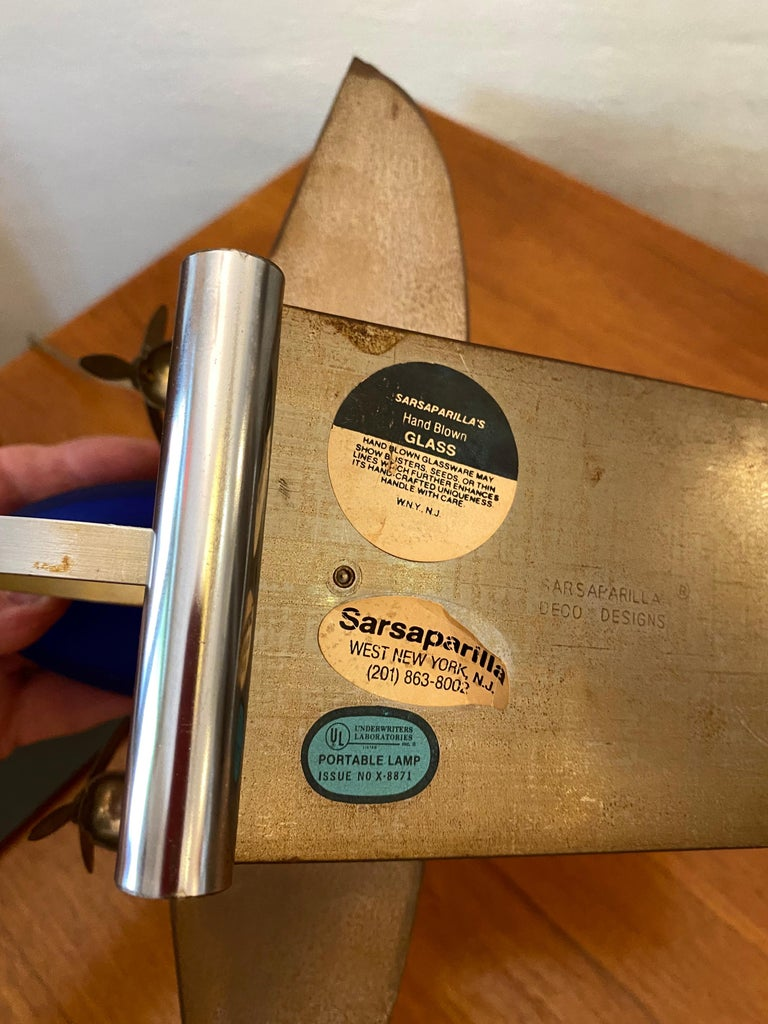 Sarsaparilla Chrome and Blue Glass Airplane Lamp In Good Condition For Sale In Philadelphia, PA