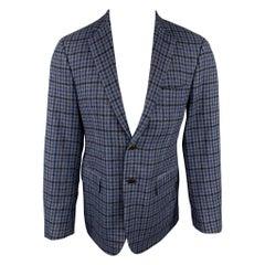 SARTORIA PARTENOPEA Size 40 Navy & Blue Plaid Wool / Cashmere Sport Coat