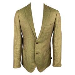 SARTORIA PARTENOPEA Size 40 Olive Woven Linen / Wool Notch Lapel Sport Coat