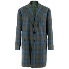 Sartoria Solito Green Tweed Tailored Checked Coat estimated size L