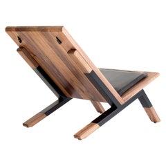 """Sartorii"" Contemporary Lounge Chair, Walnut, Powder Coated Steel, Leather"
