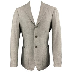 SARTORIO Size 38 Grey Houndstooth Wool / Cashmere Notch Lapel Sport Coat