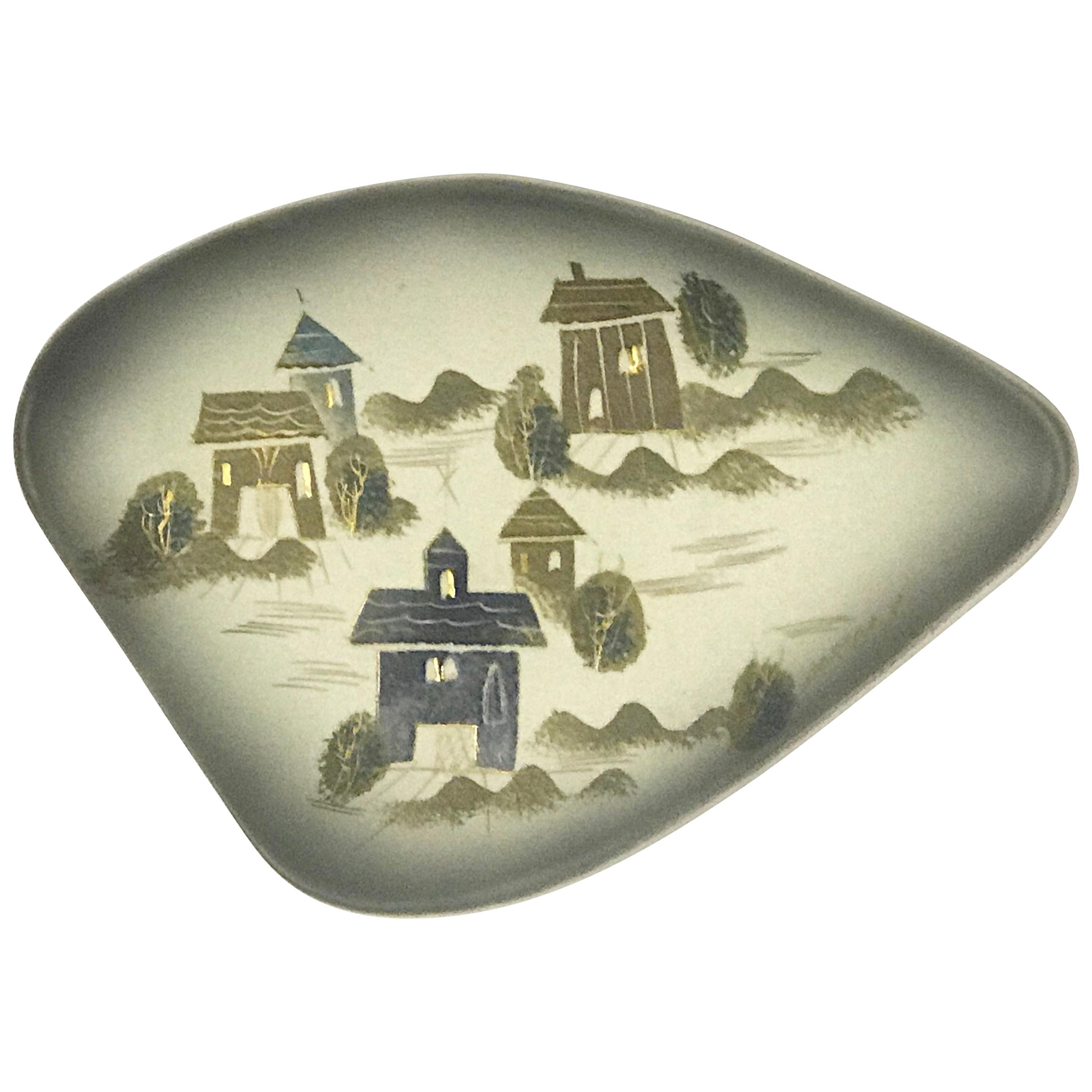Sascha Brastoff Rooftops Collection Freeform Style Amoeba Shaped Dish #F3