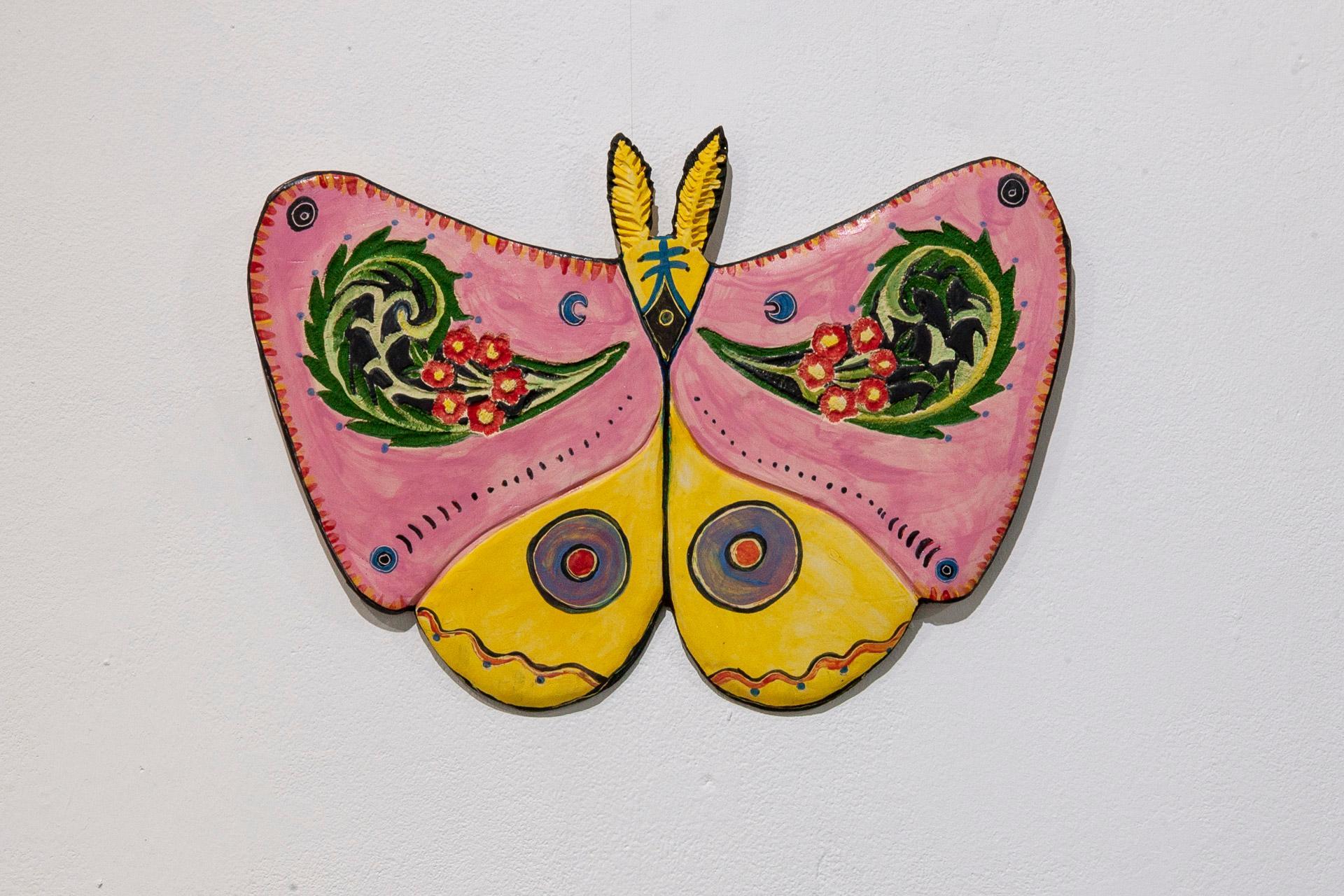 """Moth"" Ceramic wall sculpture with Austrian decorative floret design"