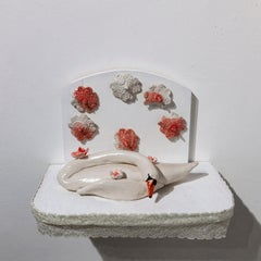 """""""Sleeping Swan"""" ceramic sculpture with lace, hand sculpted flowers and swan"""